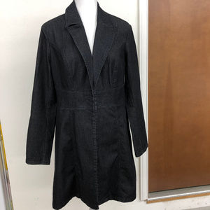 NWT BisouBisou A-line Black Denim  Coat